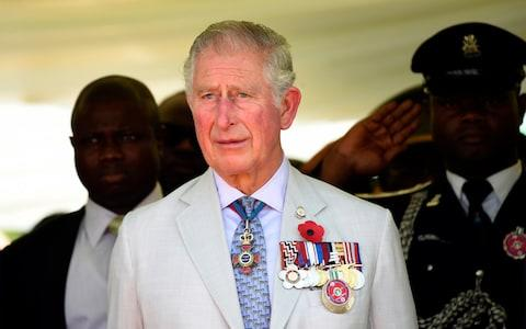 Britain's Prince Charles stands during a ceremony honoring the fallen heroes of the two World Wars, in Abuja, on the third day of his visit to Nigeria - Credit: Pius Utomi Ekpei/AFP POOL