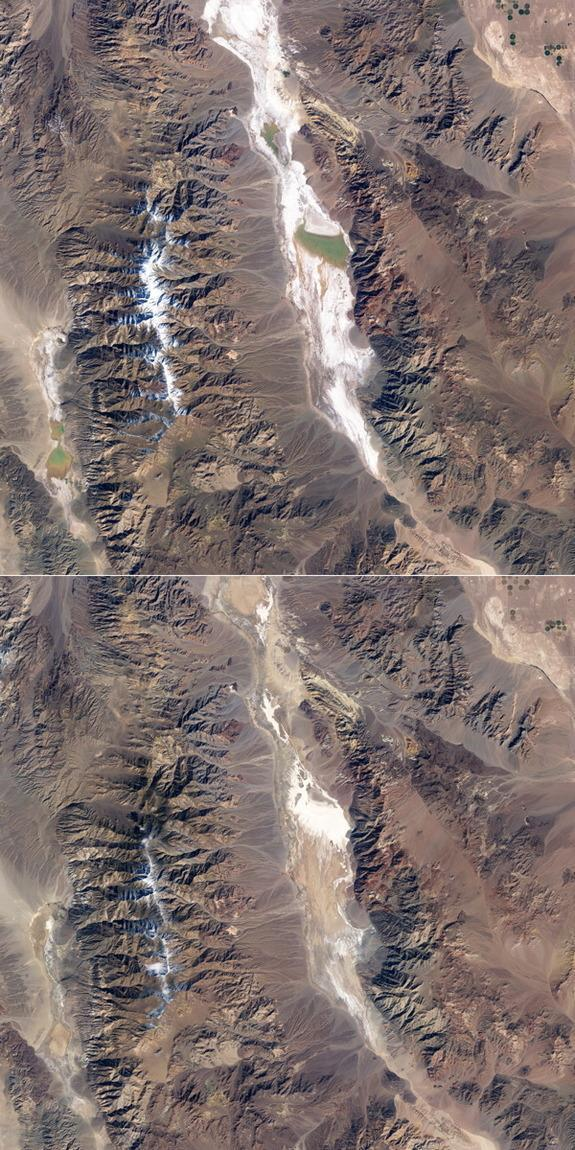 Lake Badwater in California's Death Valley received water from rainfall in 2005 (top). Over the course of two years, the water evaporated (bottom), leaving behind new deposits of salts as evaporite. A similar process may have happened on Saturn