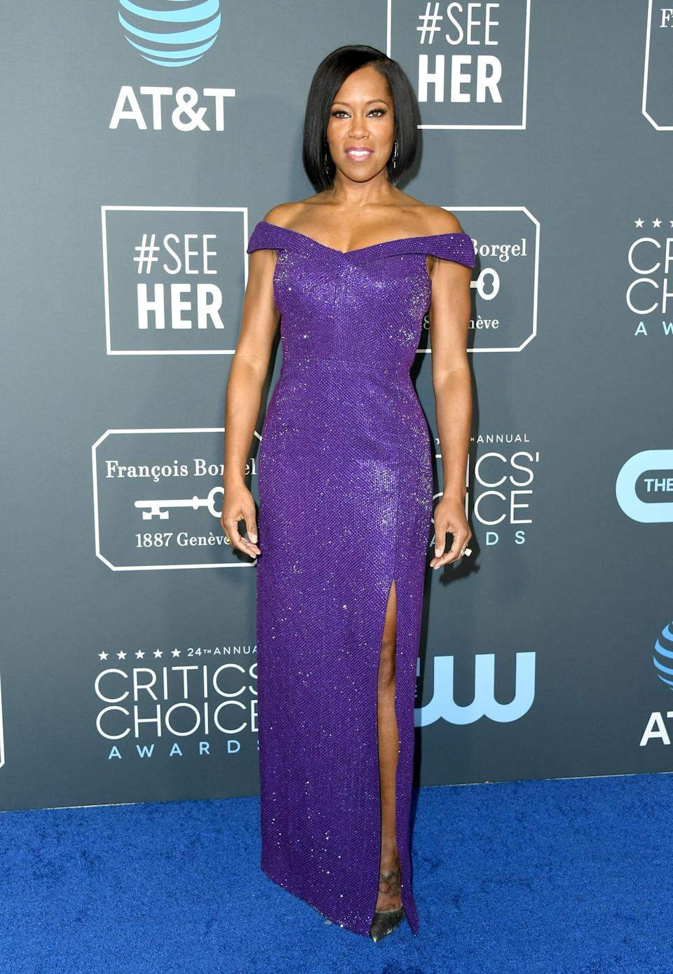 <p>Regina King wearing a purple Michael Kors Collection gown with Irene Neuwirth jewels.</p>
