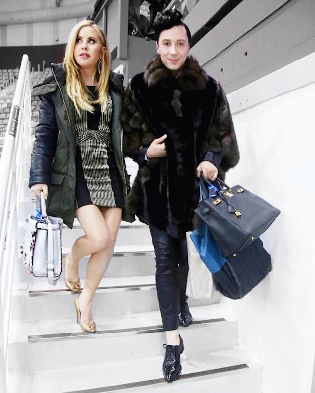 "<p>As Johnny Weir put it while on the move with BFF and broadcasting partner Tara Lipinski… ""A true gentleman always carries the bags""<br>(Photo via Instagram/@johnnygweir) </p>"