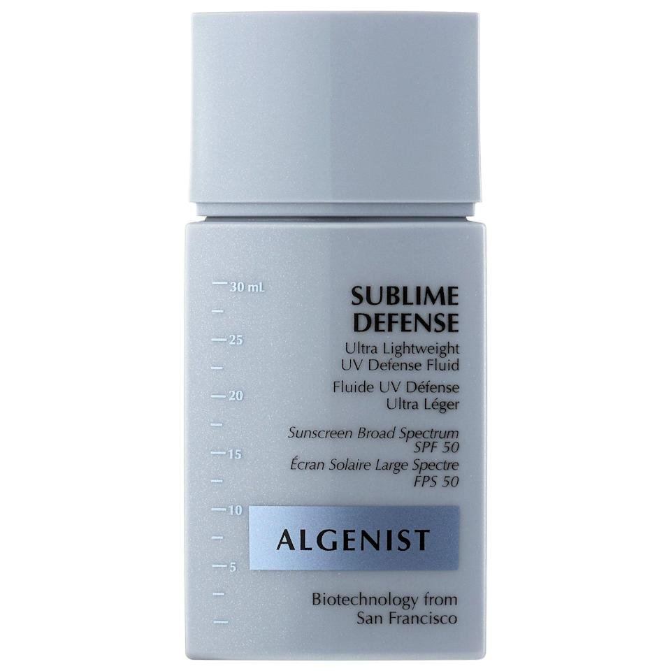 """<p><strong>Algenist</strong></p><p>skinstore.com</p><p><strong>$28.00</strong></p><p><a href=""""https://go.redirectingat.com?id=74968X1596630&url=https%3A%2F%2Fwww.skinstore.com%2Falgenist-sublime-defense-ultra-lightweight-uv-defense-fluid-spf50-1-fl.-oz%2F12695131.html%3Faffil%3Dthggpsad%26switchcurrency%3DUSD%26shippingcountry%3DUS%26thg_ppc_campaign%3D71700000015222123%26gclid%3DCjwKCAjwy42FBhB2EiwAJY0yQo4A_YZn9y6MlWsxXQQQgBfZyeHeK1i0kx_i-ai028hoyO71753bqhoCs8cQAvD_BwE%26gclsrc%3Daw.ds&sref=https%3A%2F%2Fwww.goodhousekeeping.com%2Fbeauty-products%2Freviews%2Fg2487%2Fbest-sunscreen-for-face-reviews%2F"""" rel=""""nofollow noopener"""" target=""""_blank"""" data-ylk=""""slk:Shop Now"""" class=""""link rapid-noclick-resp"""">Shop Now</a></p><p>This Algenist fluid was one of the best-performing sunscreens <a href=""""https://www.goodhousekeeping.com/beauty-products/g5059/best-primers-for-oily-skin/"""" rel=""""nofollow noopener"""" target=""""_blank"""" data-ylk=""""slk:for oily skin"""" class=""""link rapid-noclick-resp"""">for oily skin</a> in GH Beauty Lab testing. Testers loved its easy application, virtually undetectable finish, and that <strong>it didn't run or look shiny on problem spots</strong>. <br></p>"""