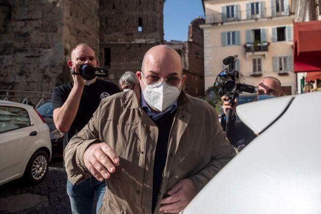 ROME, ITALY - FEBRUARY 28: Vito Crimi former political leader of the 5-Star Movement, leaves the Hotel Forum following a meeting to decide the leadership of the 5-Star Movement (M5S), on February 28, 2021 in Rome, Italy. (Photo by Antonio Masiello/Getty Images) (Photo: Antonio Masiello via Getty Images)