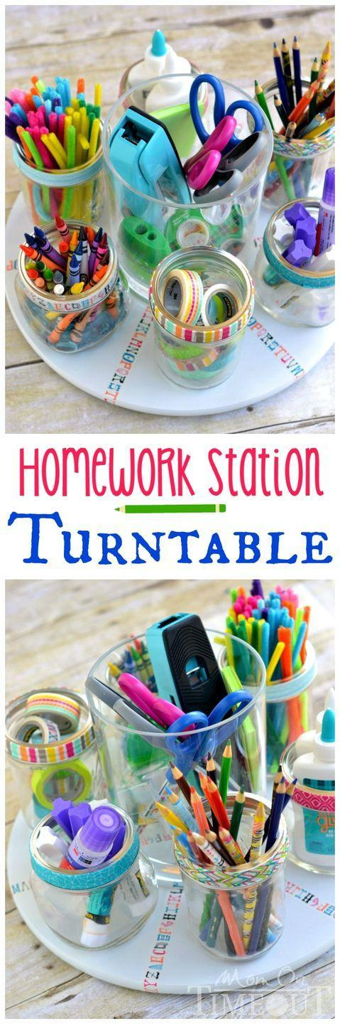 """<p>Sometimes schoolwork calls for more than a pencil and calculator. Keep all the supplies your child could possibly need on hand with this handy homework turntable, which you can put together with just a few supplies. </p><p><strong><em><a href=""""https://www.momontimeout.com/homework-station-turntable/"""" rel=""""nofollow noopener"""" target=""""_blank"""" data-ylk=""""slk:Get the tutorial at Mom on Timeout"""" class=""""link rapid-noclick-resp"""">Get the tutorial at Mom on Timeout</a>. </em></strong></p><p><a class=""""link rapid-noclick-resp"""" href=""""https://www.amazon.com/OXO-Grips-Susan-Turntable-16-Inch/dp/B000QA2IJ0?tag=syn-yahoo-20&ascsubtag=%5Bartid%7C10070.g.37133630%5Bsrc%7Cyahoo-us"""" rel=""""nofollow noopener"""" target=""""_blank"""" data-ylk=""""slk:SHOP TURNTABLE"""">SHOP TURNTABLE</a></p>"""