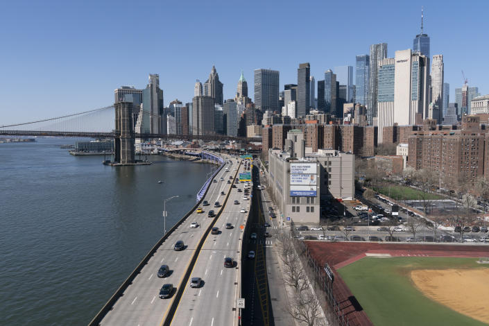 Vehicles drive along the FDR Drive in New York, part of the city's aging infrastructure, Tuesday, April 6, 2021. With an appeal to think big, President Joe Biden is promoting his $2.3 trillion infrastructure plan directly to Americans. Republicans oppose Biden's American Jobs Plan as big taxes, big spending and big government. (AP Photo/Mark Lennihan)