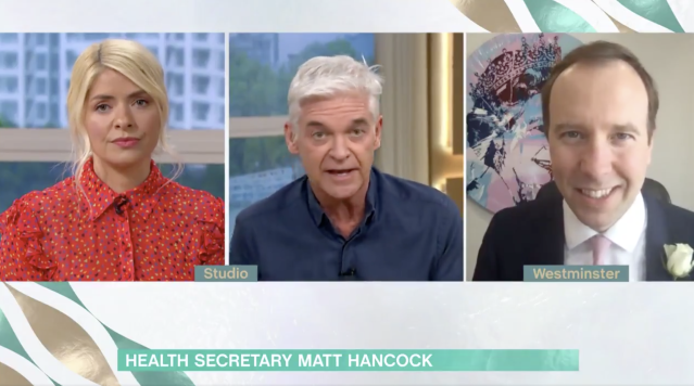 Matt Hancock told Philip Schofield and Holly Willoughby that Brits are unlikely to be allowed to go abroad for their summer holiday this year. (ITV/This Morning/Twitter)
