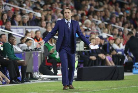 Mar 7, 2018; Orlando, FL, USA; England head coach Phil Neville reacts during the first half of an international friendly women's soccer match at Orlando City Stadium. Kim Klement-USA TODAY Sports