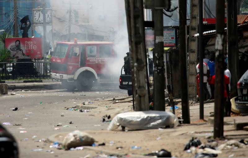 Smoke rises from fire set by people in Ikeja, Lagos State