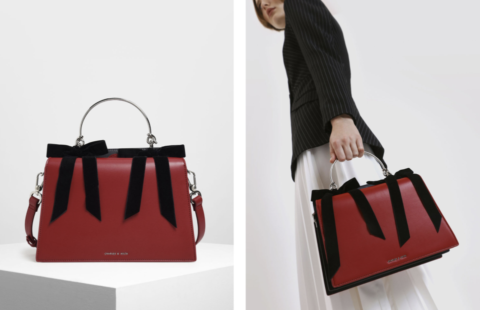 PHOTO: Charles & Keith. Velvet Bow Detail Top Handle Bag