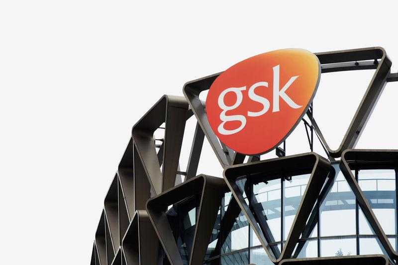 The GSK logo is seen on top of GSK Asia House in Singapore