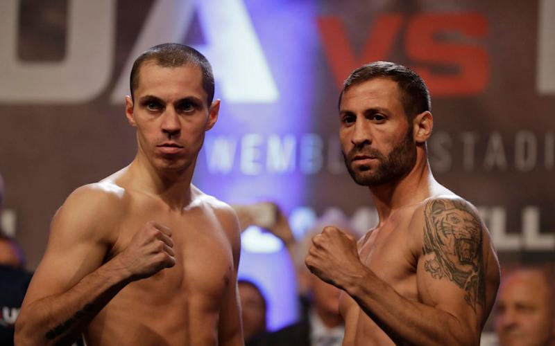 Scott Quigg (l) will take on Romanian Viorel Simion in the final fight before Anthony Joshua takes to the rink - AP