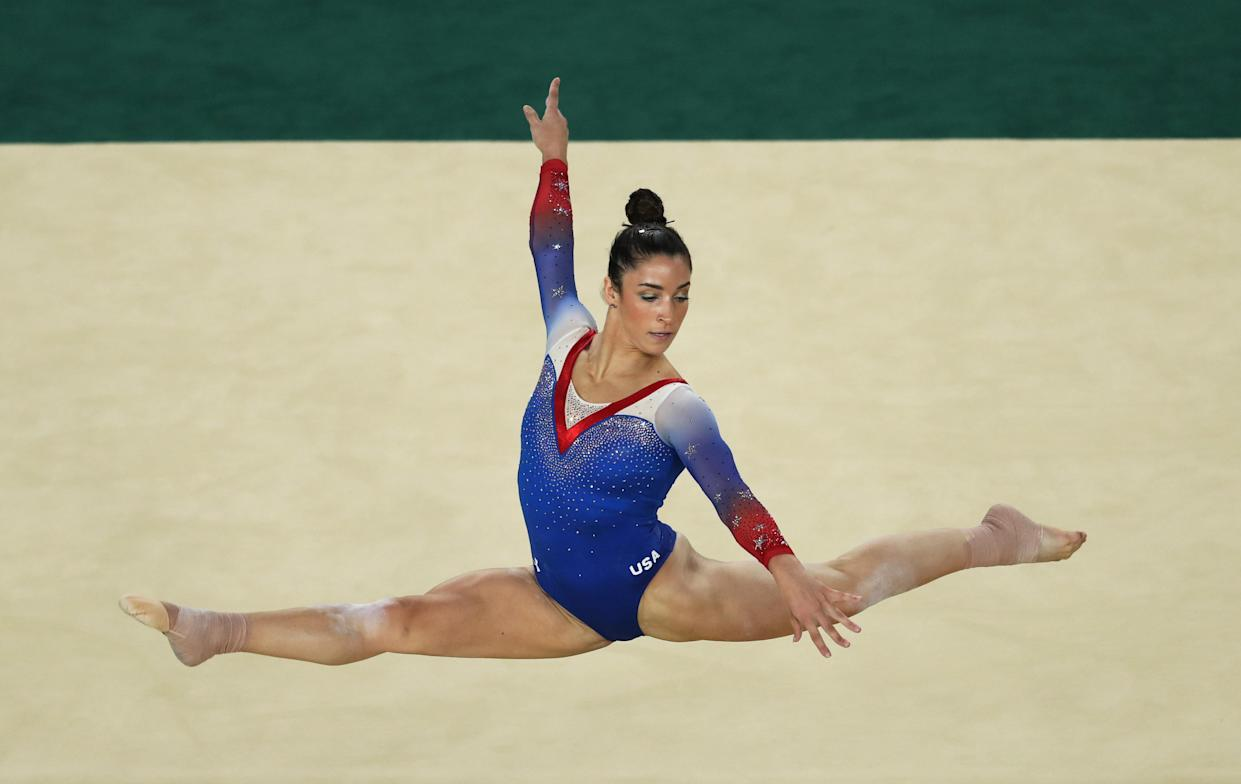 Raisman competing in the floor exercise final at the Rio de Janeiro Olympics in 2016. She took home silver. (Ian MacNicol / Getty Images)