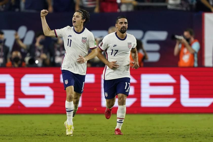 United States forward Brenden Aaronson (11) celebrates after scoring a goal against Canada during the second half of a World Cup soccer qualifier Sunday, Sept. 5, 2021, in Nashville, Tenn. (AP Photo/Mark Humphrey)