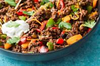 """<p>Enjoy your tacos with or without the tortilla with this easy one-skillet dish. This recipe calls for lean-beef, which tends to have less saturated fat, but doesn't mean the dish lacks flavor. The bell peppers add sweetness while the jalapeños get things a little hot. If you want something savory in the morning, you may want to bookmark this for brunch. By the way, this tastes amazing with eggs.</p><p><a href=""""https://hangrywoman.com/taco-skillet-recipe/"""" rel=""""nofollow noopener"""" target=""""_blank"""" data-ylk=""""slk:Get the Keto Taco Skillet Recipe from Hangry Woman »"""" class=""""link rapid-noclick-resp""""><em>Get the Keto Taco Skillet Recipe from Hangry Woman »</em></a></p>"""