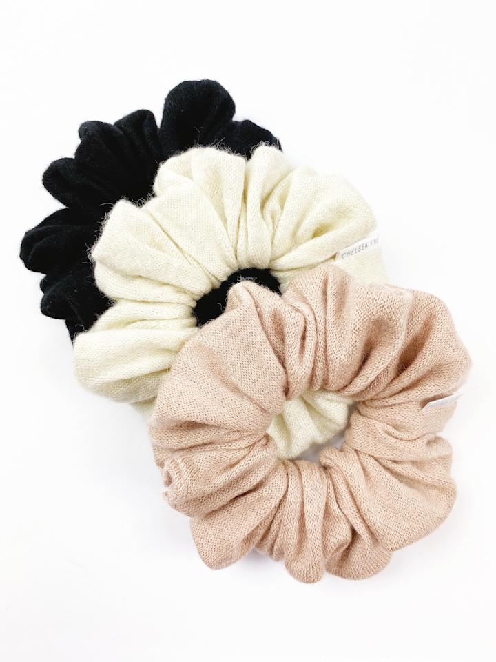 """<strong>What It Is:</strong>Scrunchies made from an ultra-soft natural fiber Rayon fabric that has the same look and feel as cashmere, but wears so much better in the hair.  <strong>Who Will Love It:</strong> The girl who can't stop wearing scrunchies.  <strong>Buy It!</strong><a href=""""https://chelseaking.shop/products/cashmeer-nude-blush-scrunchie?_pos=4&_sid=07e04bba7&_ss=r"""" target=""""_blank"""" rel=""""nofollow"""">Chelsea King Cashmere Scrunchies, $17.98 each; chelseaking.shop</a>"""