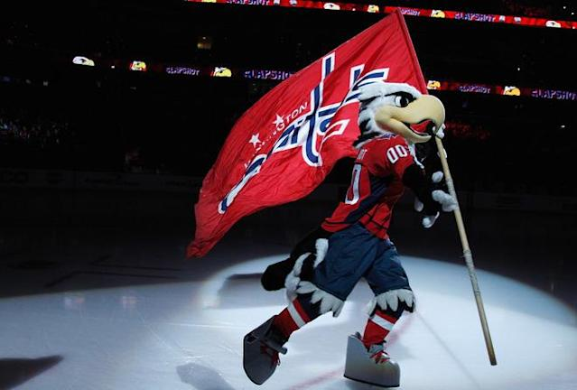 WASHINGTON, DC - MARCH 27: Washington Capitals mascot Slapshot skates on the ice before the start of the Capitals game against the Buffalo Sabres at the Verizon Center on March 27, 2012 in Washington, DC. (Photo by Rob Carr/Getty Images)