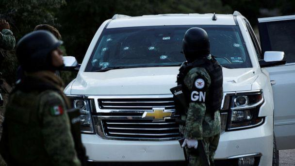 PHOTO: Soldiers assigned to Mexico's National Guard stand by a bullet-riddled vehicle belonging to one of the Mexican-American Mormon families that were killed by unknown assailants, in Bavispe, Sonora state, Mexico, Nov. 5, 2019. (Jose Luis Gonzalez/Reuters)