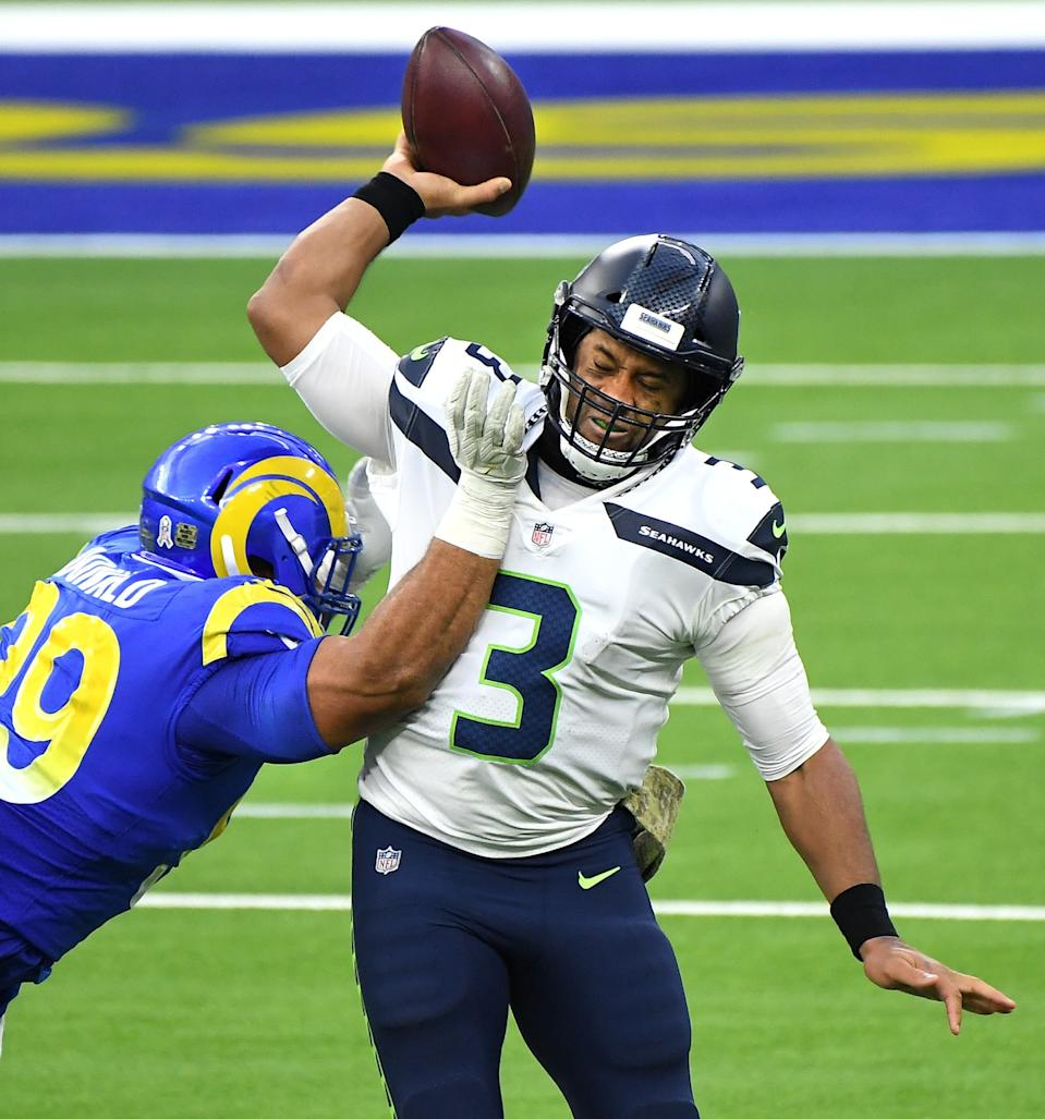 Rams Aaron Donald forces Seahawks quarterback Russell Wilson into an incomplete pass during their game in December.
