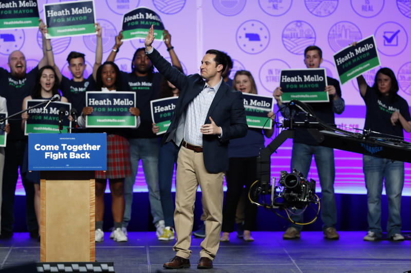 Omaha Democratic mayoral candidate Heath Mello waves to supporters after speaking at a rally, Thursday, April 20, 2017, in Omaha, Neb. Sen. Bernie Sanders, I-Vt., who attracted millions of college-aged and young adults to his presidential campaign last year, is following through on what he said in leaving the 2016 presidential race last year was the Democratic Party's chief responsibility, to welcome younger leaders into its ranks. (AP Photo/Charlie Neibergall)