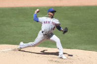 New York Mets starting pitcher Marcus Stroman delivers in the fifth inning of a baseball game against the San Diego Padres, Sunday, June 6, 2021, in San Diego. (AP Photo/Derrick Tuskan)
