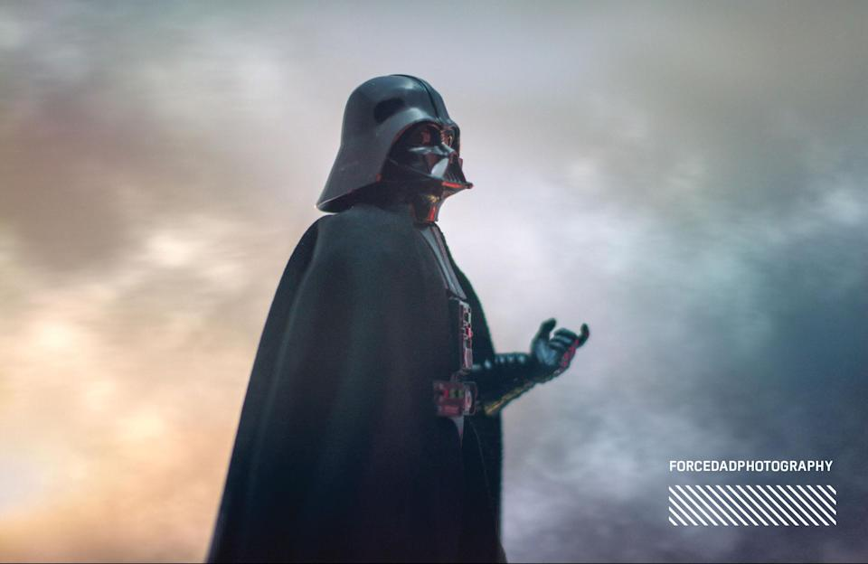 """<p>""""That [new] Darth Vader is simply amazing and wanted to do him justice. The sculpt and cape gave him a majestic presence. Even though it isn't in <em>A New Hope</em>, I wanted to reproduce the choke scene with Director Krennic from <em>Rogue One</em>."""" (Photo: <a href=""""https://www.instagram.com/forcedadphotography/"""" rel=""""nofollow noopener"""" target=""""_blank"""" data-ylk=""""slk:@forcedadphotography"""" class=""""link rapid-noclick-resp"""">@forcedadphotography</a>/Hasbro) </p>"""