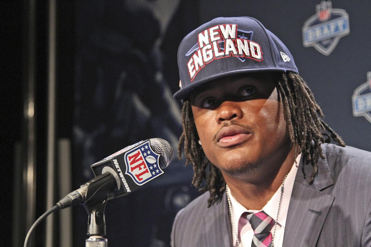 Alabama's Dont'a Hightower speaks to reporters after being selected 25th overall by the NewEngland Patriots in the first round of the NFL football draft at Radio City Music Hall, Thursday, April 26, 2012, in New York. (AP Photo/Mary Altaffer)