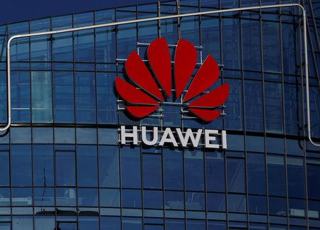 FILE PHOTO: Huawei sign is seen on a building in Vilnius