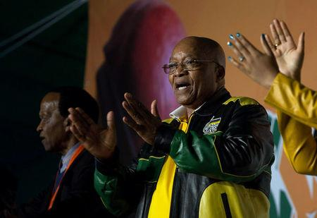 President Jacob Zuma addresses crowds gathered to celebrate his 75th birthday in Kliptown