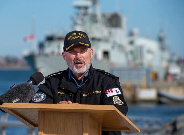 Vice-Admiral Craig Baines, commander of the Royal Canadian Navy, has been on leave from his post after a public backlash that he went golfing with a former top soldier who is under a military police investigation. (Andrew Vaughan/The Canadian Press - image credit)