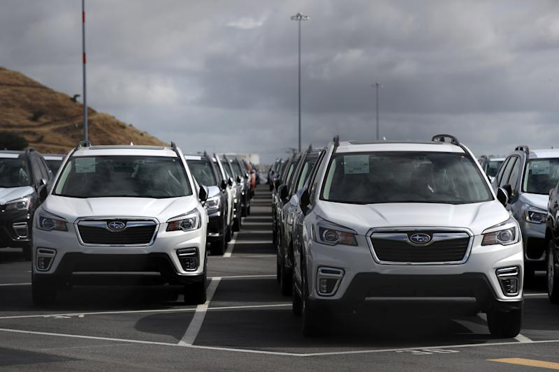 RICHMOND, CALIFORNIA - MAY 17: Brand new Subaru cars sit in a lot at Auto Warehousing Company near the Port of Richmond on May 17, 2019 in Richmond, California. U.S. President Donald Trump says he will hold off on applying new tariffs on cars and auto parts for up to six months as negotiations on trade deals continue with Japan and the European Union. (Photo by Justin Sullivan/Getty Images)