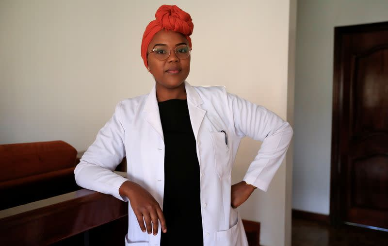 Dr. Edith Serem who received her COVID-19 vaccination is seen during a photo-call in Nairobi