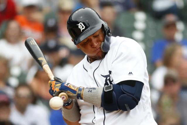 Detroit Tigers' Miguel Cabrera is hit by a pitch from Minnesota Twins' Jake Odorizzi in the sixth inning of a baseball game in Detroit, Sunday, June 9, 2019. (AP Photo/Paul Sancya)
