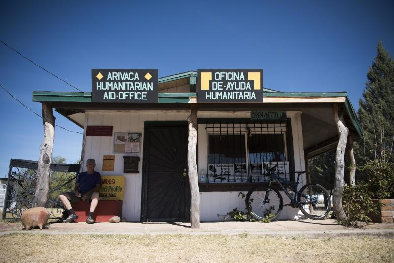 The Arivaca Humanitarian Aid Office in Arivaca, Arizona. People Helping Peopleshares the space with another group.