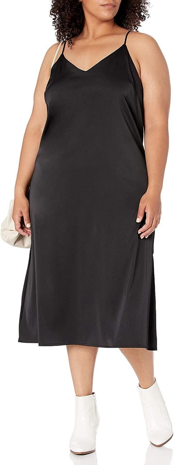 <p>This chic <span>The Drop Ana Silky V-Neck Midi Slip Dress</span> ($50) is a great wardrobe style because you can change up the look. Layer a tee under it and wear it with sneakers, or dress it up with some strappy heels.</p>
