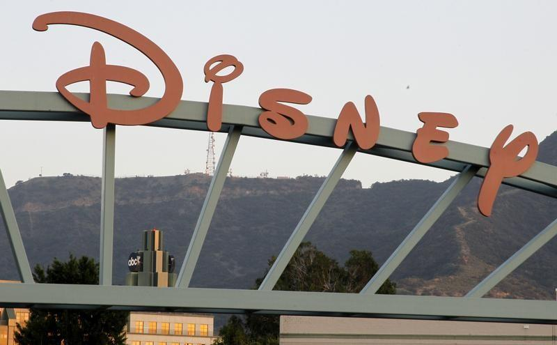 A part of the signage at the main gate of The Walt Disney Co. is pictured in Burbank