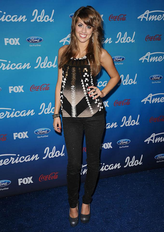 """Angie Miller attends the FOX """"American Idol"""" finalists party at The Grove on March 7, 2013 in Los Angeles, California."""