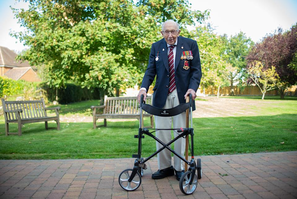 Captain Sir Tom Moore at his home in Marston Moretaine, Bedfordshire, on the publication day of his autobiography Tomorrow Will Be A Good Day.
