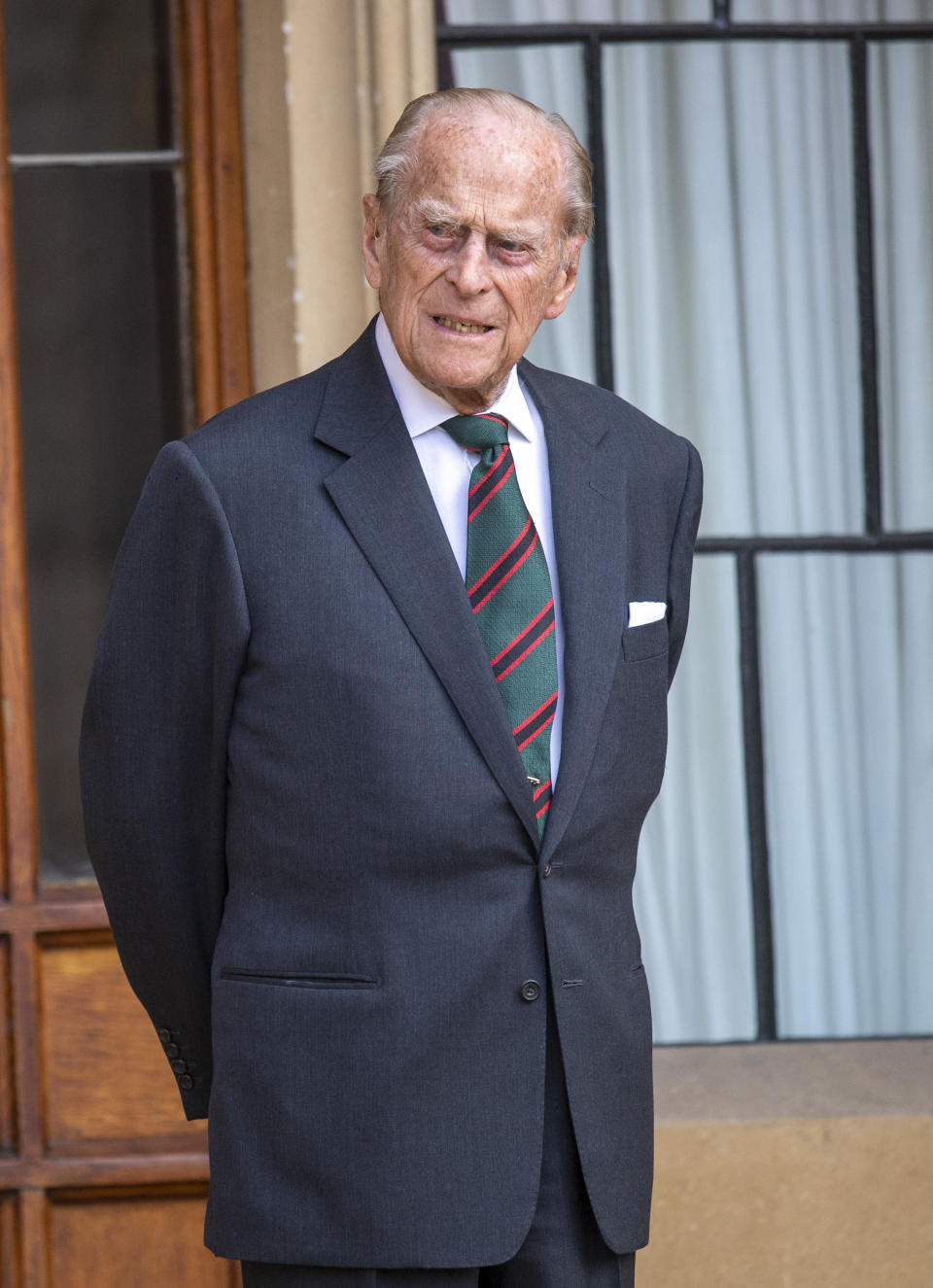 Prince Philip, Duke of Edinburgh attends a ceremony to mark the transfer of the Colonel-in-Chief of The Rifles at Windsor Castle on July 22, 2020.  The 99 year old Duke is stepping down from his role as Colonel-in-Chief after 67 years of service and is transferring it to Camilla,Duchess of Cornwall.