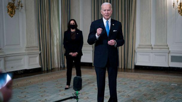PHOTO: President Joe Biden briefly speaks to reporters after delivering remarks in the State Dining Room of the White House, March 2, 2021, (Doug Mills-Pool/Getty Images)