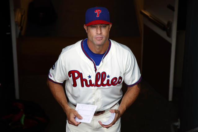 FILE - In this Sept. 29, 2019, file photo, Philadelphia Phillies manager Gabe Kapler walks to the dugout before a baseball game against the Miami Marlins, in Philadelphia. The Phillies fired Kapler Thursday, Oct. 10, 2019. (AP Photo/Matt Slocum, File)