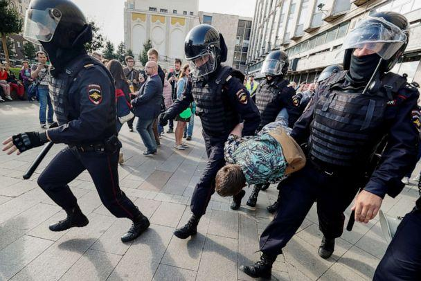 PHOTO: Law enforcement officers detain a participant in a rally calling for opposition candidates to be registered for elections to Moscow City Duma, the capital's regional parliament, in Moscow, Aug. 3, 2019. (Shamil Zhumatov/Reuters)