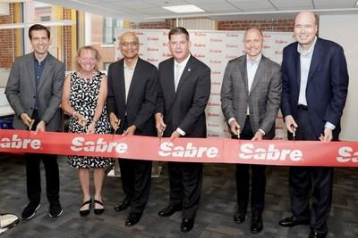 Boston Mayor Marty Walsh joined travel technology leader Sabre to mark the grand opening of its Boston Innovation Lab, the new headquarters for its research and development team, Sabre Labs. From left to right: Andrew Gasparovic, vice president and chief architect, Sabre Labs; Caroline Wester, director of software engineering, Sabre Labs; Sundar Narasimhan, president of Sabre Labs and product strategy; Sean Menke, president and CEO, Sabre; Larry Kellner, chairman of the board, Sabre.