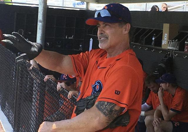 Rafael Palmeiro officially returned to professional baseball with the Cleburne Railroaders, an unaffiliated team in the independent American Association. (AP)