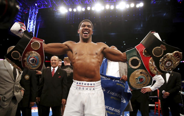 <span>Unified heavyweight champion </span>Anthony Joshua defeated Alexander Povetkin in <span>the debut of the streaming service DAZN </span>on Saturday, Sept. 22, 2018, at Wembley Stadium in London. (AP)