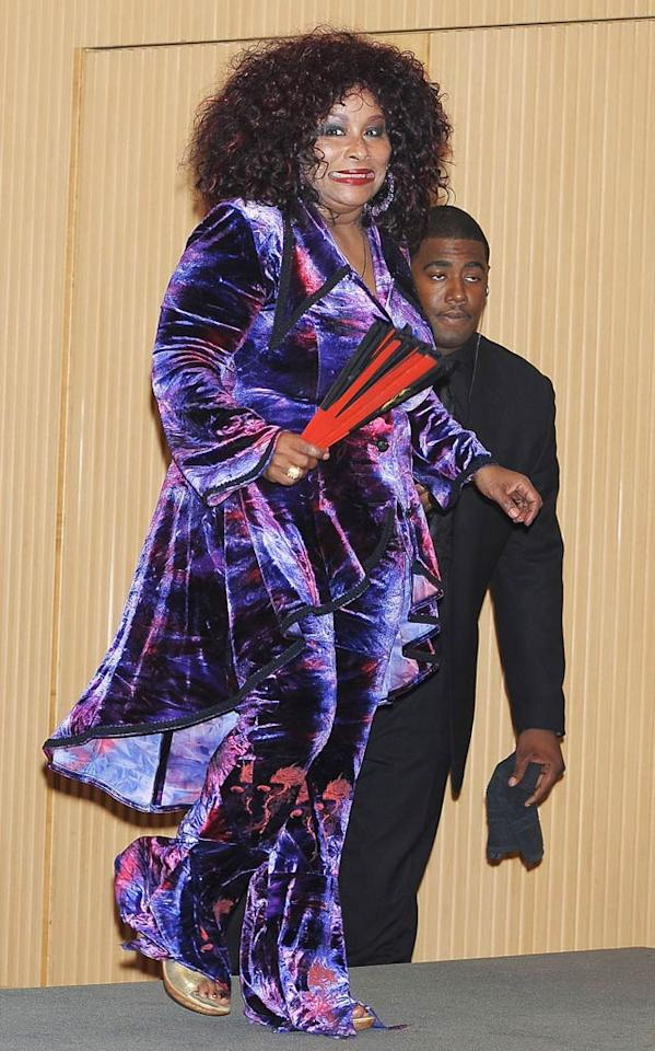 """Based on that look on her face, even Chaka Khan knows she shouldn't have worn this velvet pantsuit to the Billboard Japan Music Awards. Jun Sato/<a href=""""http://www.wireimage.com"""" target=""""new"""">WireImage.com</a> - February 6, 2011"""