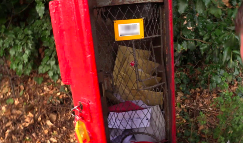 Packages containing drugs were found stuffed inside Royal Mail post boxes in Chelmsford, Essex. (SWNS)