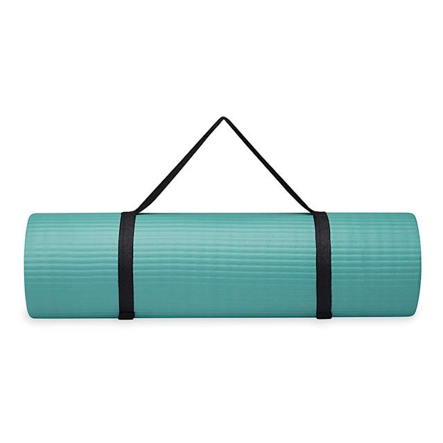 Gaiam Essentials Thick Yoga Mat Fitness & Exercise Mat with Easy-Cinch Yoga Mat Carrier Strap. (Photo: Amazon)