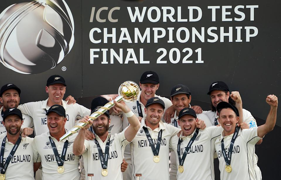 New Zealand celebrate victory against India in the inaugural World Test Championship final (PA Wire)