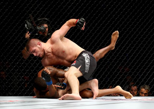 """<p>Nurmagomedov's injury return was a one-sided victory over Darrell Horcher, a last-minute replacement for Ferguson, at UFC on Fox 19 in April 2016. Then, """"The Eagle"""" returned at the legendary UFC 205 in November 2016, the company's long-awaited debut at Madison Square Garden, which was headlined by Conor McGregor's victory over Eddie Alvarez to claim the lightweight belt. Nurmagomedov not only absolutely pummeled one of the sport's toughest fighters in Michael Johnson before submitting him in the third, but he also had a dialogue with UFC president Dana White, who was seated cageside, while he dished out the ongoing beating. The evening's events led to chatter of a McGregor-Nurmagomedov fight on a mass scale for the first time. </p>"""
