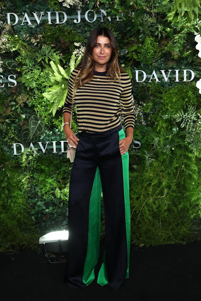 <p>Jodhi Meares went for a more laid-back approach, matching a striped, long-sleeved top with a pair of bootleg trousers. Photo: Getty Images </p>