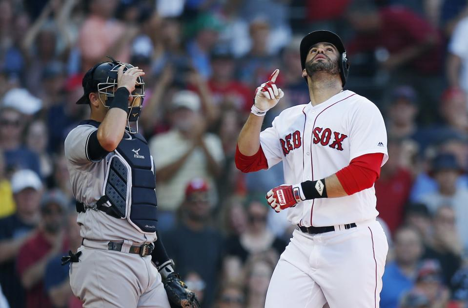 J.D. Martinez and his 37 home runs didn't sign until the day of their first full-squad workout this spring. (AP)